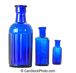 Antique poison bottles - Three cobalt blue antique poison...