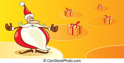 Santas with gifts - Illustration of funny Santas with gifts