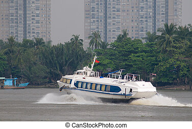 Hydrofoil boat on Saigon River in Vietnam - Hydrofoil...