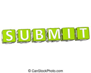 Submit Cube text - 3D Submit Cube text on white background