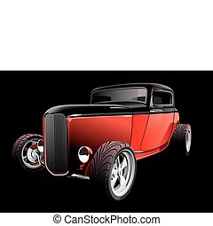 red hot rod on black - Vectorial image of red hot rod, on...