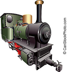 steam train - vectorial image of old-fashion steam train,...
