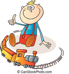 Boy with train set - Illustration of little boy with train...