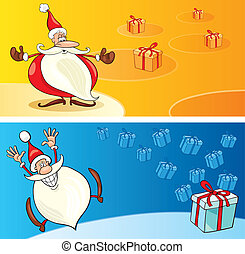 Santas with gifts - llustration of funny Santas with gifts