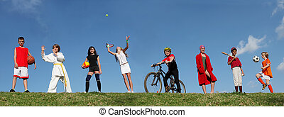 verão, esportes, acampamento, crianças