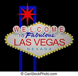 Las Vegas night sign - 3D render of the sign Welcome to...