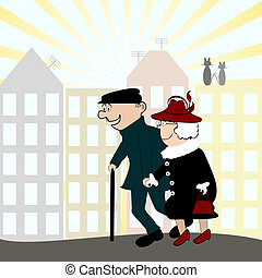 vector illustration of a happy senior couple walking on a...