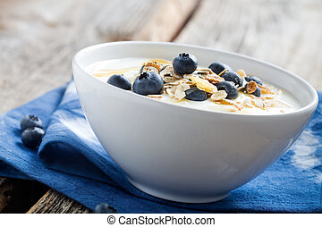 Blueberries - Natural yogurt with fresh blueberries,...
