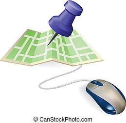 Mouse and map concept - Concept A mouse connected to a paper...