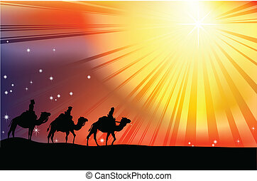 The three wise men crossing the desert following the star of...