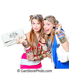 happy smiling fashion victims with accessories