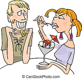 Guy and woman eating dessert - Illustration of guy and angry...