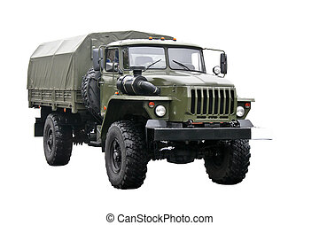 Military truck isolated over white