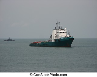 Supply vessel - A platform supply vessel at anchor