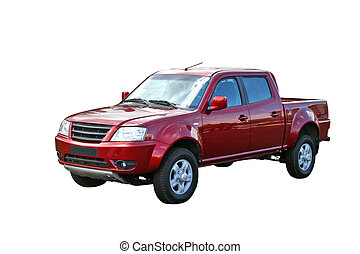 Pickup truck - Cherry double cab pickup truck isolated on...