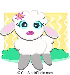 Cute Lamb with Flower - Here is a sweet Lamb standing in...