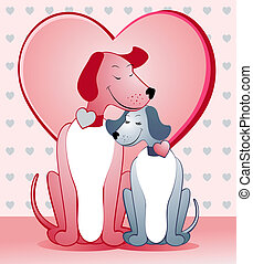 Dogs in love - A pair of dogs is embraced tenderly, vector