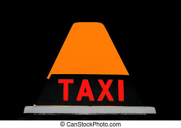 Orange and red Taxicab sign