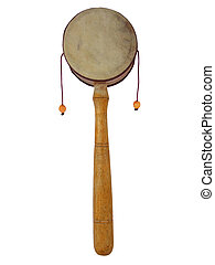 Monkey Drum - A monkey drum with yellow beaters isolated on...