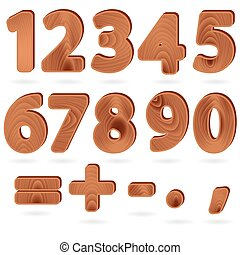 Digits in wood grain texture style - Set of digits and...