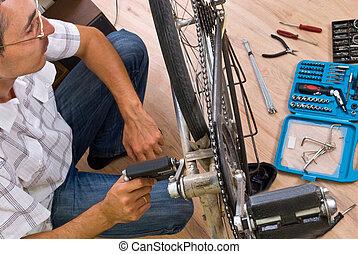 Servizio, bicicletta, esperto, riparare, bicicletta