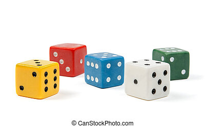 Colorful dices on white background - Five dices of different...