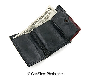 Five dollar bill in a wallet - Five dollar bill in a black...