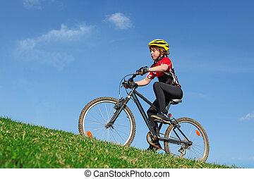 sano, ataque, niño, equitación, bicicleta