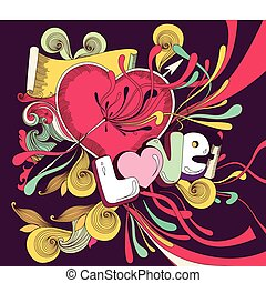 Vector cartoon illustrtion with heart and splashes