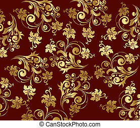 Vector gold flower curly pattern