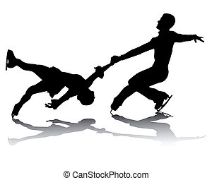 athletes skaters - black silhouettes of athletes skaters on...