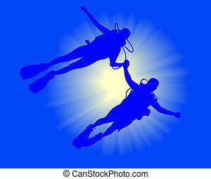two divers in the background of sunlight