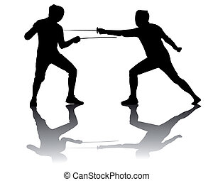 black silhouettes of athletes fencers on a white background