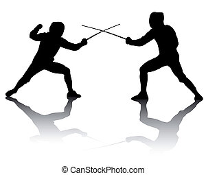 silhouettes of athletes fencers - black silhouettes of...