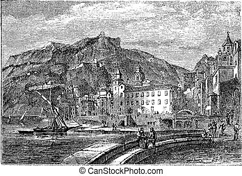Amalfi in 1890, in the province of Salemo, Italy. Vintage...