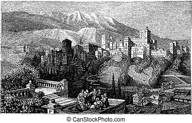 The Alhambra, in Granada, Spain. Old engraving around 1890....