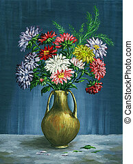 Bouquet of asters in a clay vase - Picture oil paints on a...