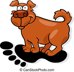 Dog in big human footprint - Cartoon illustration of dog in...