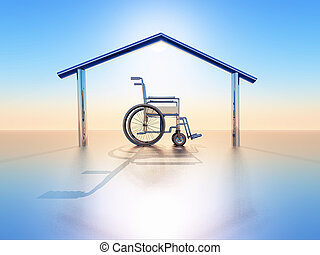 handicap and home - a wheelchair into a house structure