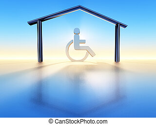 house and handicap - a wheelchair into a house structure