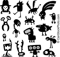 funny monsters - Collection of cartoon funny vector monsters...