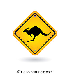 yellow sign with kangaroo