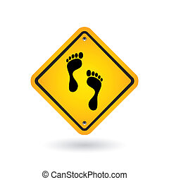 yellow sign with foot