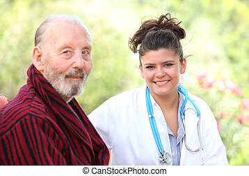 senior man with nurse or dr - senior man with nurse or...