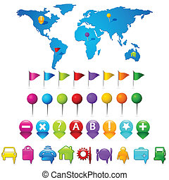 World Map with GPS icons - illustration of world map with...
