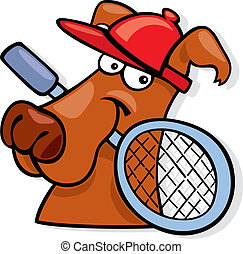 Sporty dog with tennis racket - Illustration of sporty dog...