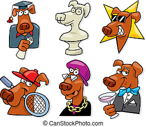 dogs icons set - cartoon illustration of dogs icons set