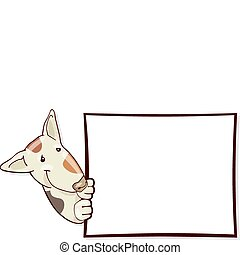 Bull terrier dog and card
