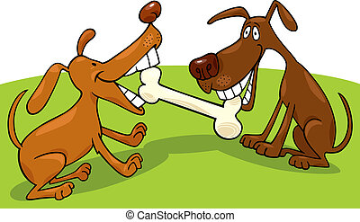 dogs playing with bone - cartoon illustration of two dogs...