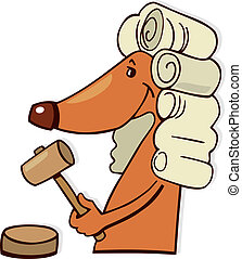Dog judge - Cartoon illustration of dog judge